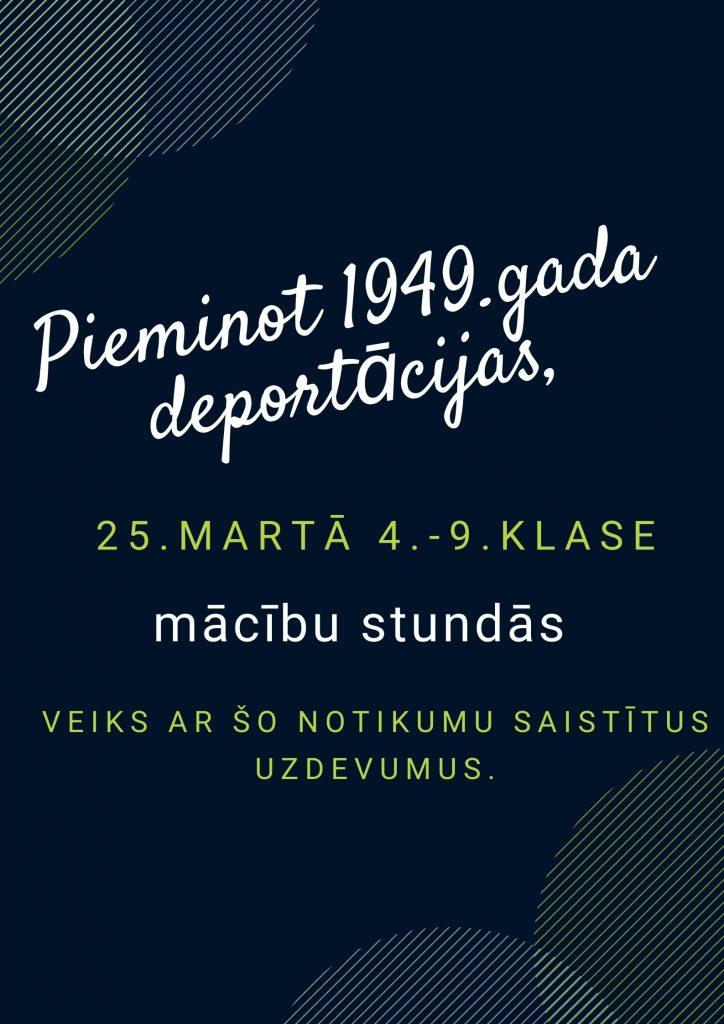 Pieminot 1949.gada deportācijas